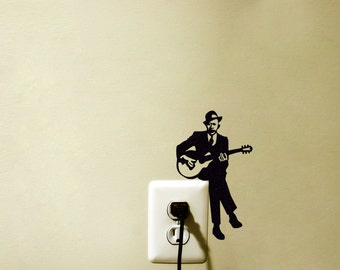 Guitar Player Light Switch Velvet Sticker   Jazz Guitarist Wall Decal   Music  Wall Art
