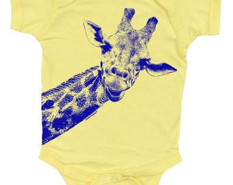 Giraffe on a yellow bodysuit for baby.  Blue on yellow onesie. Giraffe baby clothes.