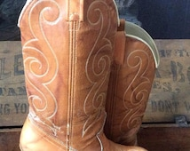 Vintage Acme Light Brown Leather Distressed Wooden Stacked Cowgirl Boots Country Western Cowboy Size 5 1/2