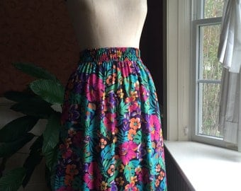 vintage tropical floral skirt ~ cotton skirt with pockets