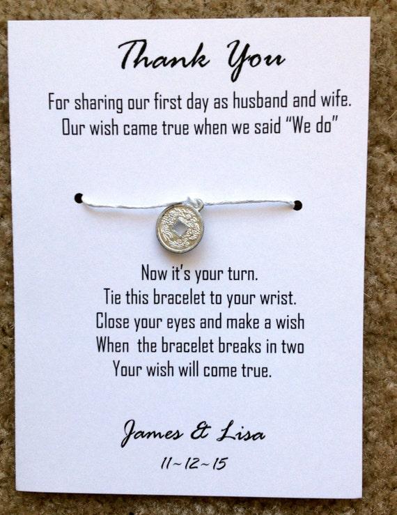 Wedding Favors Wish Bracelet Customized Thank By AChicShabbyShop