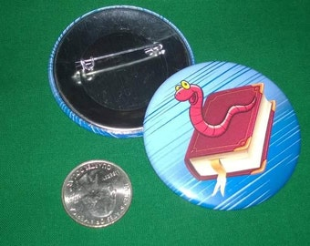 2.25 Inch Pin Back Button Book Worm