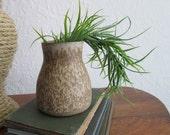 Small Ceramic Vase. Neutral Bud Vase. Small home decor. Bookshelf Decor. Minimalist. Modern. Rustic Vintage. Vintage Vase. Cream and Brown.