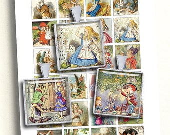 "Alice in Wonderland Collage Sheet Square Printable images 1.5"" 1"" 0.75x0.83"" Digital Collage Sheet - Instant Download"