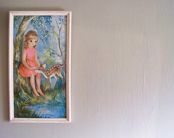 Vintage Big Eye Dallas-Simpson Print of Girl and Fawn
