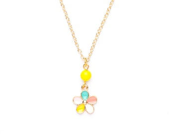 Beaded Flower Necklace | Pastel Flower Charm Necklace | Pale Gold Necklace |