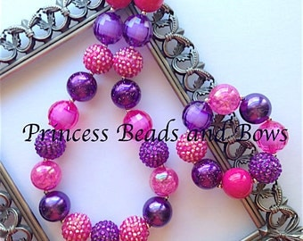 Shades of Hot Pink and Purple Chunky Necklace and Bracelet,  Pink and Purple Necklace, Bubble Gum Necklace, Kids, Girls, Baby, Photo Prop