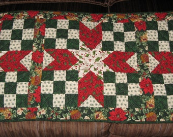 Heirloom Holiday Table Runner, Hand Quilted, Christmas Quilt, FREE SHIPPING