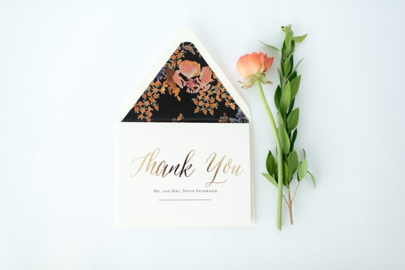 gold foil personalized  thank you cards +  lined envelopes (set of 10) // lola louie paperie