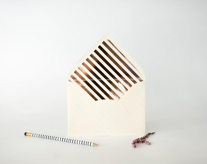 gold foil diagonal stripe lined envelopes  (sets of 10)  // lola louie paperie