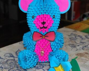 3D origami bear - origami bear - paper bear - teddy bear - bear gift