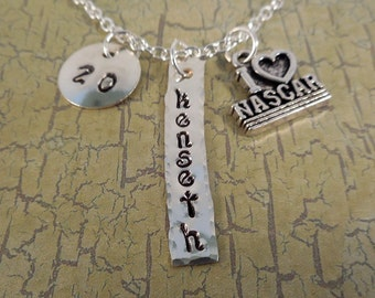 Matt Kenseth #20, Stock Car Racing, Hand Stamped Charm Necklace