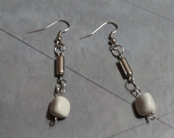 Silver and Feldspar Rock Earrings