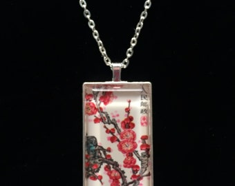 Chinese Plum Blossom Postage Stamp Necklace