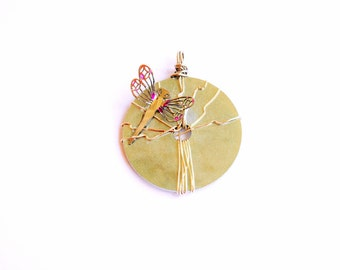 Silver dragonfly Pendant - round-dragonfly pendant- Summer Song Collection