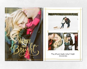 Digital Photoshop Christmas Card Template for photographers PSD Flat card - Christmas Card - PSD Template - CT014