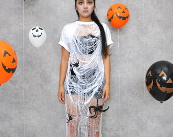 White Widow II Webbed Shredded Distressed Halloween Spider Maxi T-Shirt Dress