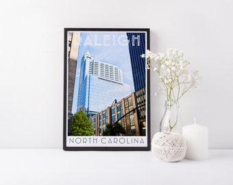 Print - Raleigh, NC - Downtown - Digital Art