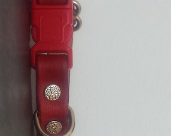 Adjustable Red Leather Cat Collar - Safety Breakaway Leather Cat Collar