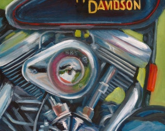 All about that chrome...original art, oil painting, chrome, motorcycle, harley davidson