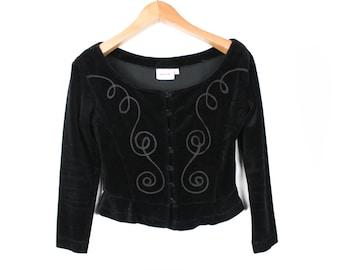 Velvet jacket, Cropped jacket, Black jacket, Black velvet jacket, Vintage jacket, Velvet cardigan, Black cardigan, Goth jacket / Small