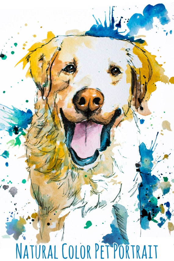 Custom natural tone painted pet portrait personalized for Painting of your dog