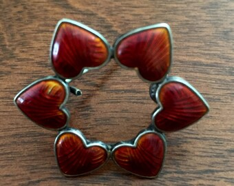 Volmer Bahner, Vintage Red Heart Wreath Guilloche Enamel Pin, Red Heart Pin V Bahner Mark Partly Illegible, Denmark Sterling Red Heart Pin
