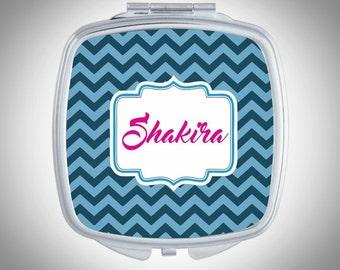Personalized Compact Mirror - Blue Chevron Personalized Compact Mirror - Personalized Bridesmaid Gift - Wedding Compact Mirror Wedding Favor