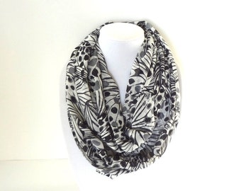 Black & White Scarf, Spring Scarf, Butterfly Wings Scarf, Lightweight, Printed Scarf