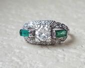 Vintage Antique 1.10 carat Art Deco Transition Cut Diamond and Natural Emerald Engagement Wedding Ring in Platinum