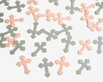 Cross Confetti - 100 Pieces - Christening Decor - Baptism Table Scatter - First Communion Decoration - Religious Confetti - Pink and Silver