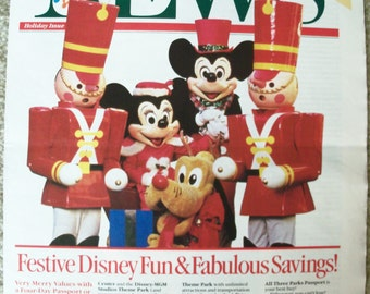 Vintage Walt Disney World News - Newspaper – Festive Disney Fun – Holiday Edition  - 1989