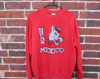 Vintage UNM Lobos University of New Mexico Crewneck Sweatshirt True Vintage M Made in USA