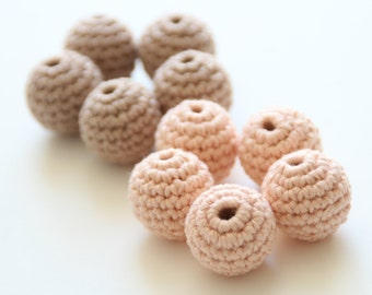 Organic baby teething beads 22 mm / Organic baby cotton yarn / Teething beads