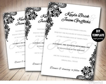 Black Wedding Invitation,Black and White Wedding Invitation Template,Lace Wedding Invitation, Elegant Invitation
