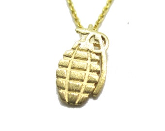 Tiny Hand Grenade Shaped Charm Necklace in Gold | Gun Rights Themed Jewelry