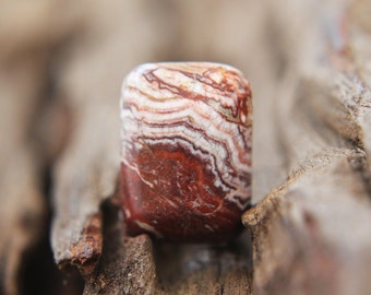 Gemstones - Mexico Agate Cabochon - rectangle 18mm x 13mm - oblong - earth / brown / cream