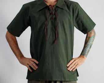MERCHANT SHIRT ss GREEN - Renaissance Clothing, Pirate Costume, Viking Tunic, Medieval Shirt, Pirate Tunic, Renaissance Costume