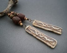 rustic tribal earrings • artisan clay pendant • seed beads • organic • Antique glass • wood beads • primitive • ethnic jewelry • entre2et7