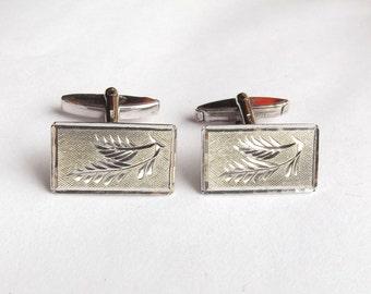 Sterling Silver Cufflinks In A Box  | Vintage 1970's Swivel Back Cuff Links | Hallmarked 1977 | Rectangle Cufflinks In A Presentation Box