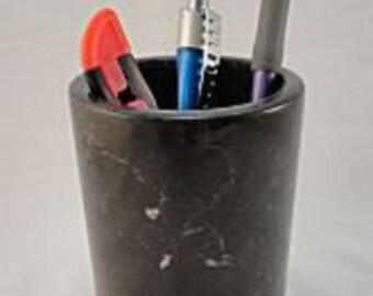 Pencil/Pen Holder Cup, Makeup Brush Holder, Grey Marble, Personalized/Monogrammed - Laser Engraved