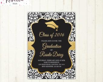 graduation party invitation graduation invitation gold and black invitation high school grad invitation university class prom invitation 211