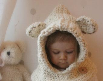 CROCHET PATTERN hooded cowl Polar bear Bessy (baby/toddler/child/adult sizes)