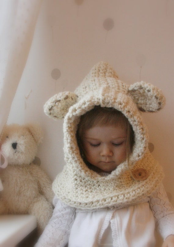 Crochet Baby Bear Cowl Pattern : CROCHET PATTERN hooded cowl Polar bear Bessy