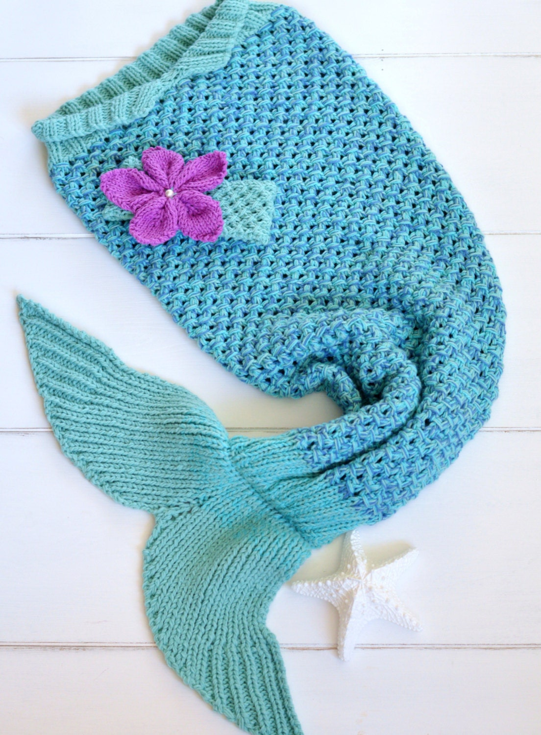 KNITTING PATTERN for Mermaid Tail Blanket for Children 6 sizes