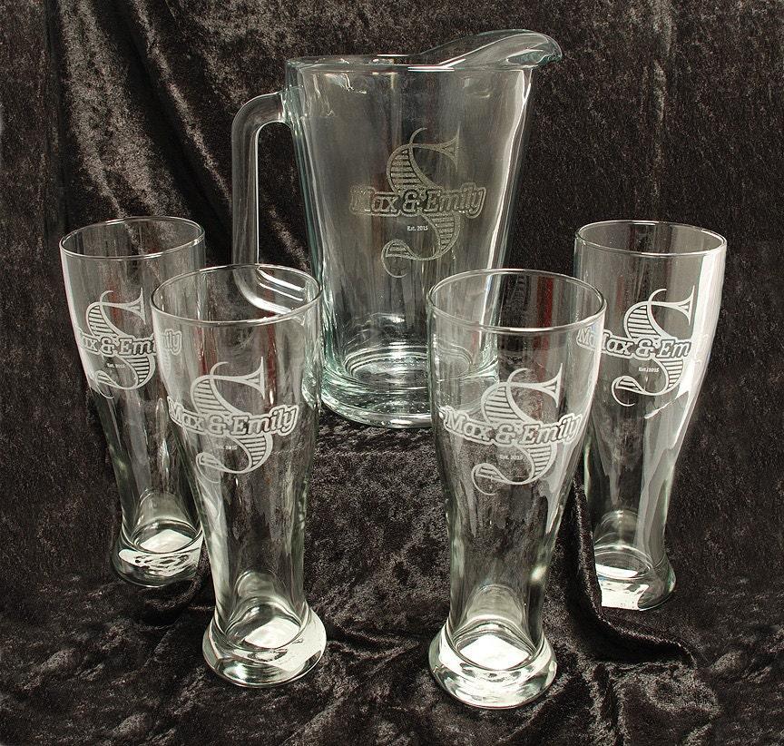 60 oz glass beer pitcher and 4 glass set monogrammed. Black Bedroom Furniture Sets. Home Design Ideas