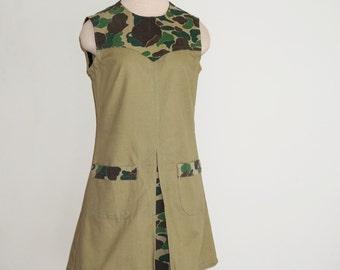 HANDMADE Camoufladge Dress (created from 1970s tennis dress pattern & vintage fabrics)