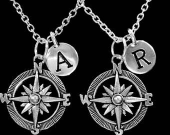 Best Friend Gift, Compass Initial Necklace, Best Friend Necklace, Nautical Long Distance, Sister Necklace, No Matter Where, Necklace Set