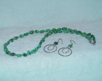 Genuine Turquoise Nugget Necklace & Earrings Set