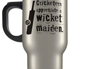 Cricket wicket maiden travel mug. Funny cricket design